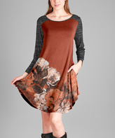Aster Rust & Gray Rose Pocket Scoop-Neck Tunic - Plus Too