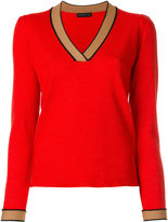Etro contrast V-neck jumper - women - Silk/Viscose/Wool - 44