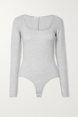Reformation Katie Brushed Stretch-tencel Lyocell And Organic Cotton-blend Bodysuit - Light gray