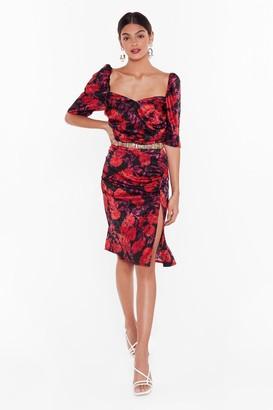 Nasty Gal Womens Studio The Flower of Love Satin Dress - Black - 4