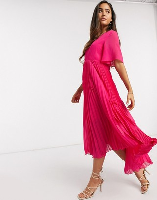Y.A.S midi dress with pleat skirt in pink