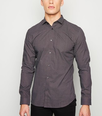 New Look Jack & Jones Burgundy Geometric Long Sleeve Shirt