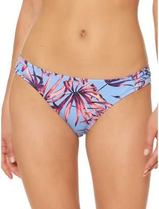 Jessica Simpson Palm-Print Shirred Hipster Bikini Bottom