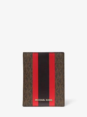 Michael Kors Bedford Travel Medium Logo Stripe Passport Wallet