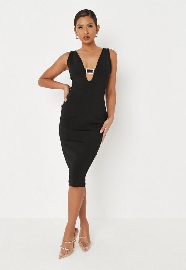 Missguided Petite Black Diamante Buckle Plunge Bandage Midi Dress