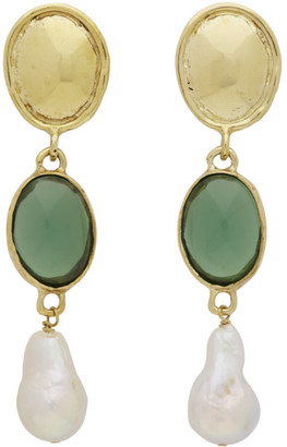 MONDO MONDO Gold and Green Sirena Earrings