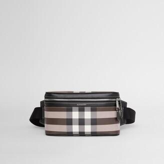 Burberry Check Print Leather Cube Bum Bag