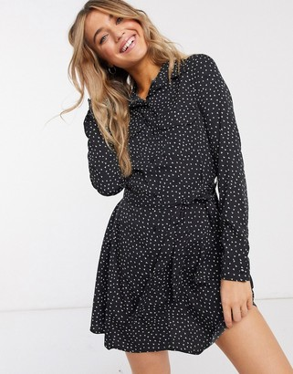 Brave Soul tie waist mini shirt dress in black with heart print