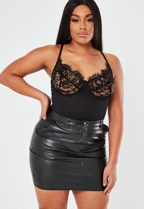 Missguided Plus Size Black Faux Leather Mini Skirt