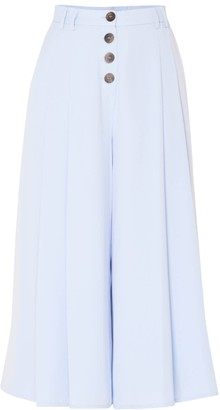Paisie Culottes With Pleated Front & Button Details With Self Belt In Light Blue