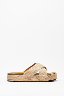 Nasty Gal Womens Woven Cross Strap Flatform Footbed Sandals - Beige