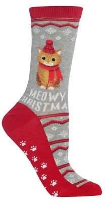 Hot Sox Meowy Christmas Non Skid Crew Socks