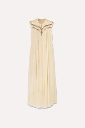 Chloé Embellished Frayed Silk-georgette Gown - Ecru
