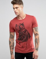 Blend of America Slim Owl Print T-Shirt Wood Red