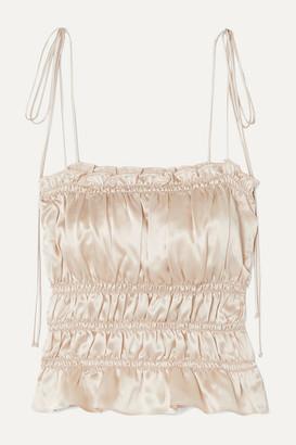 Reformation Viviana Ruffled Smocked Silk-charmeuse Top - Ivory