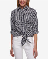 Tommy Hilfiger Cotton Printed Tie-Front Shirt, Only at Macy's