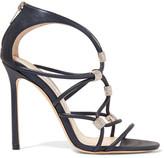 Jimmy Choo Memento Tetrus Swarovski Crystal-embellished Leather Sandals - Navy
