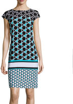 Liz Claiborne Cap-Sleeve Circle Dot Print Shift Dress