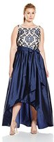 Adrianna Papell Women's Lace and Taffeta Hi Low Gown