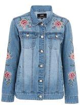 Quiz Light Blue Floral Embroidered Denim Jacket