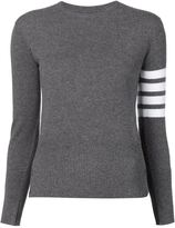 Thom Browne striped sleeve sweater - women - Cashmere - 40