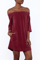 Glam Burgundy Pocket Dress