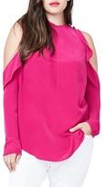 Rachel Roy Plus Size Women's Ruffle Cold Shoulder Top