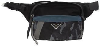 Prada Black and Blue Camouflage Technical Fabric Crossbody Bag