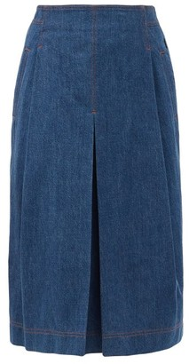 Chloé Box-pleated Denim Midi Skirt - Denim