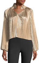 Opening Ceremony Foil Pleated Split-Front Long-Sleeve Top