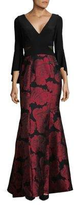 Xscape Evenings Bell Sleeve Floral Brocade Gown