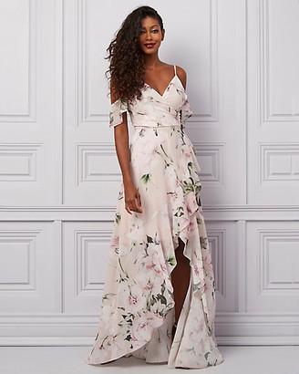 Le Château Floral Print Chiffon Off-the-Shoulder Gown