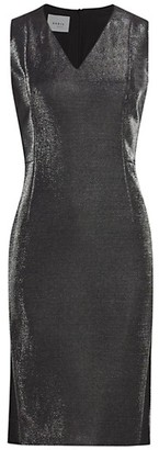 Akris Punto Sleeveless Metallic Jersey Sheath Dress
