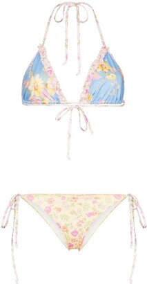 LoveShackFancy Harbour floral print bikini set