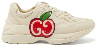 Gucci Rhyton Apple-print Leather Trainers - Red White