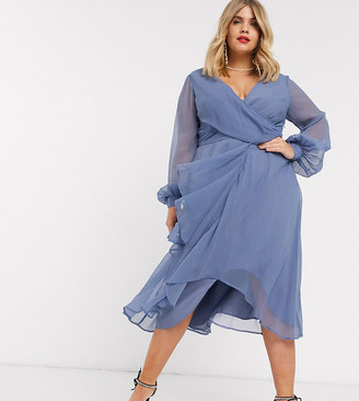 Asos DESIGN Curve wrap waist midi dress with double layer skirt and long sleeve