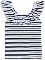 Splendid Girls' Indigo Stripe Ruffle Top