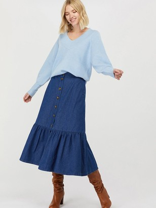 Monsoon Tori Organic Cotton Tiered Denim Skirt - Blue
