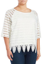 Joan Vass Plus Plus Size Crocheted Blouse