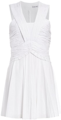 Derek Lam 10 Crosby Ruched Pleated Stretch-Linen Mini A-Line Dress