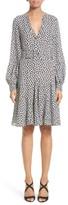 Michael Kors Women's Mini Rose Print Silk Georgette Flirt Dress