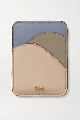 Chloé Walden Color-block Leather Cardholder - Beige