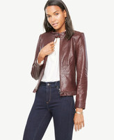 Ann Taylor Ruffle Leather Moto Jacket