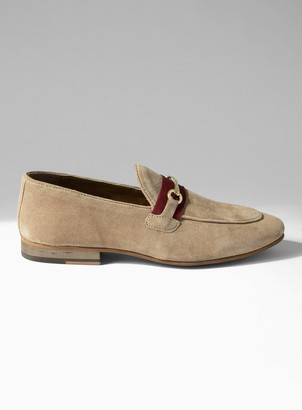 Topman Beige Real Suede Corden Trim Loafers