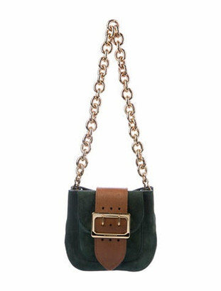 Burberry Suede Buckle Crossbody Bag Green