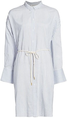 MUNTHE Eastcoast Pinstripe Tie-Waist Shirtdress