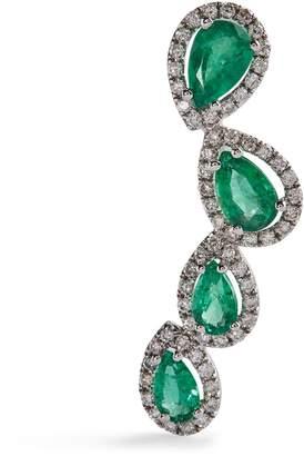 Djula White Gold, Diamondand Emerald Precieuse Earring