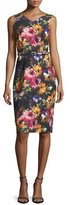 David Meister Sleeveless Floral Stretch Crepe Midi Dress, Black/Pink/Orange