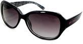 Betsey Johnson White & Black Rectangle Sunglasses