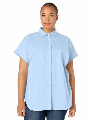 Chaps Women's Plus Size Short Sleeve Stretch Poplin Shirt